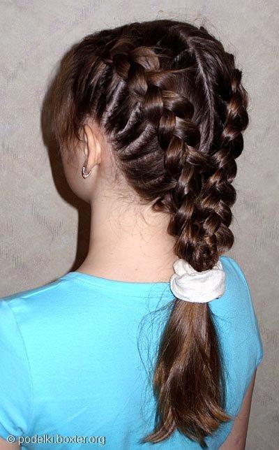 """Причёска """"Обратная воздушная коса"""""""