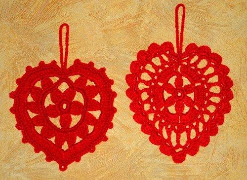 Вязанные ажурные валентинки